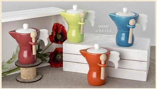 Barattolo Caffettiera in porcellana colorata con cucchiaino