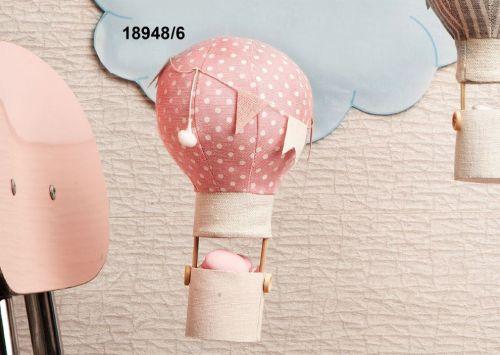 Mongolfiera in tela rosa - Set 6 pz
