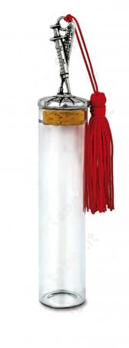 Fiala in vetro con termometro e siringa sul tappo - Bomboniera laurea
