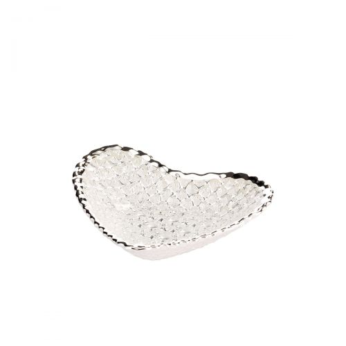 Piatti cuore DIAMANTE in vetro argento - Argenesi