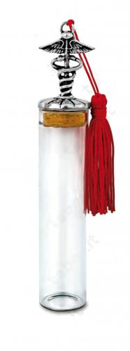 Fiala in vetro con caduceo sul tappo - Bomboniera laurea