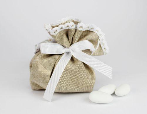 Saccoccino portaconfetti pizzo linea FEDERICA - per Matrimonio / 1° Comunioni