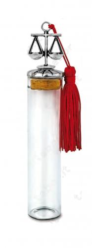Fiala in vetro con bilancia sul tappo - Bomboniera laurea