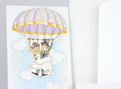 Partecipazioni per nozze sposi in mongolfiera fumetto