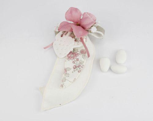 Fazzoletti portaconfetti con fiore e bollitore / teiera Bomboniera Nozze linea FIOR DI LOTO - Joel