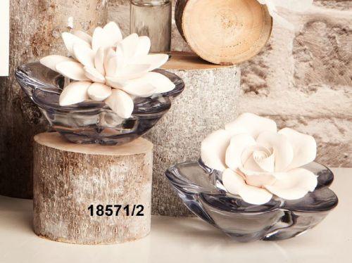 Diffusore in cristallo con tappo fiore ed essenza
