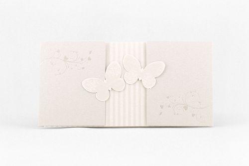 Partecipazione rettangolare con farfalle in rilievo