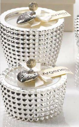 Porta candela QUADRI in resina e argento - Bomboniera Argenesi
