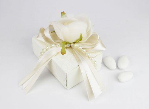 Scatolina portaconfetti con rosa bomboniera per Matrimonio