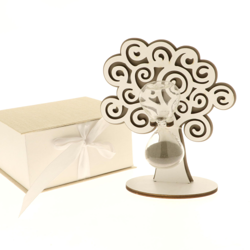 Clessidra in vetro con base albero della vita
