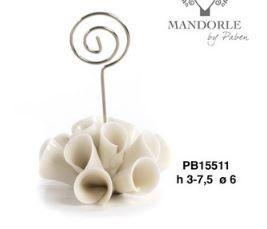Memoclip base fiore in porcellana - Mandorle