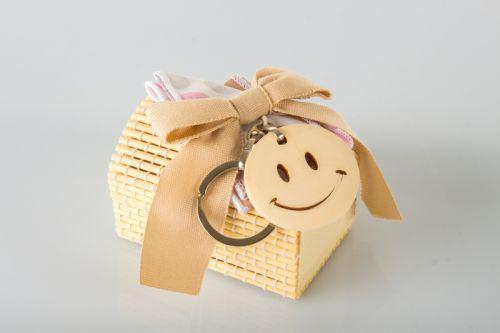 SCATOLINA PORTACONFETTI SMILE IN LEGNO - BOMBONIERA SOLIDALE
