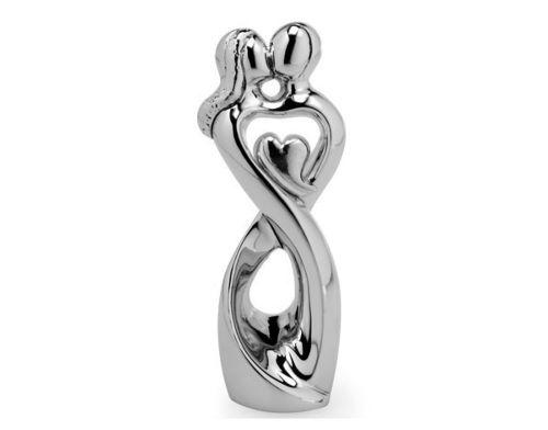 Coppia sposi stilizzata in resina e argento con cuore bomboniera matrimonio - Memory 2016