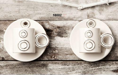 Coppia Tazze caffè bianco e argento