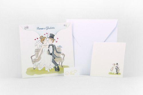 Partecipazione quadrata con illustrazione sposi