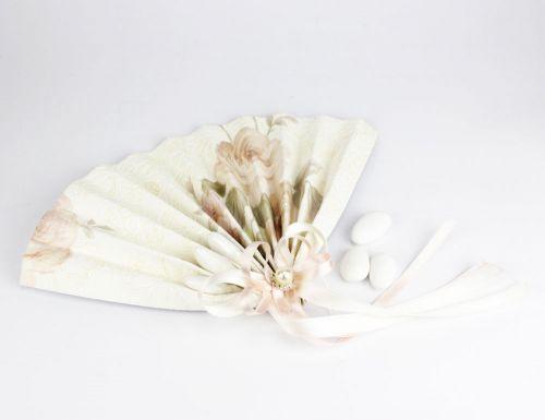 Ventaglio segnaposto con 3 confetti perla + rosa - bomboniera Nozze