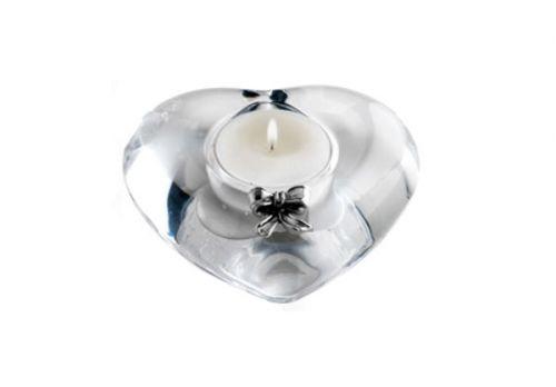 Portacandela cuore in cristallo con fiocco bomboniera matrimonio - Memory 2016