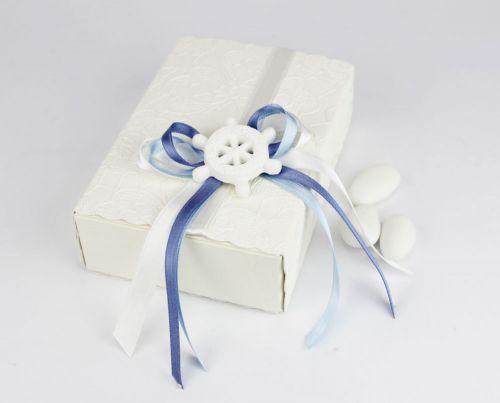 Scatola per confetti tema mare/nautico con timone - bomboniera x nozze/nascita o battesimo
