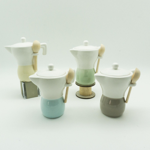 Barattolo Caffettiera in porcellana bicolor con cucchiaino legno