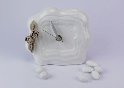 Bomboniera orologio in porcellana con Peonia