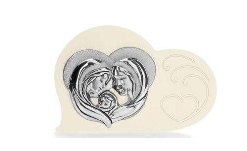 Icona cuore sacra famiglia in argento e retro in legno comunione - Memory 2016