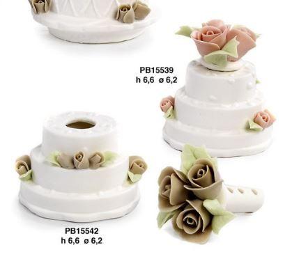 Diffusore torta con roselline in porcellana - Mandorle
