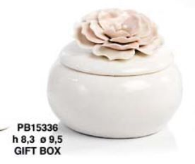 Scatola con fiore in porcellana rosa - Mandorle
