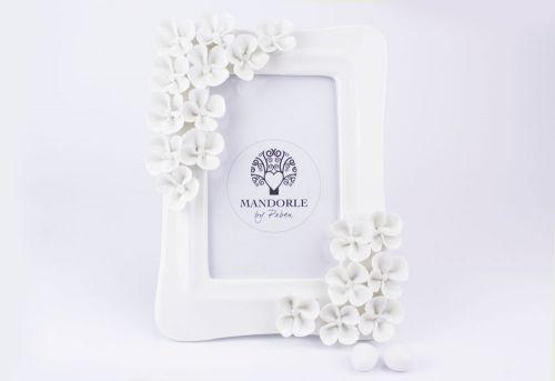 Portafotografie porcellana decoro fiori bomboniera matrimonio