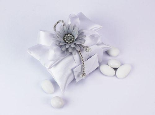 Sacchetto portaconfetti in seta fiore grigio rettangolare Gioia