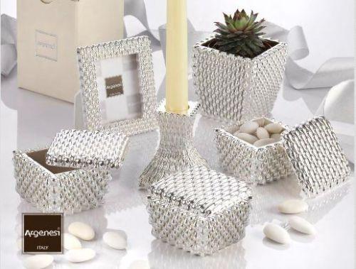 Bomboniera nozze scatola SFERE in resina e argento con piantina - Argenesi