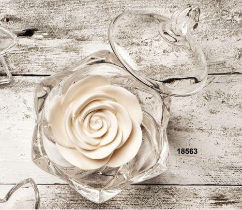 Scatola in cristallo e fiore in gesso