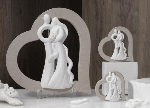Statua sposi con cuore bomboniera