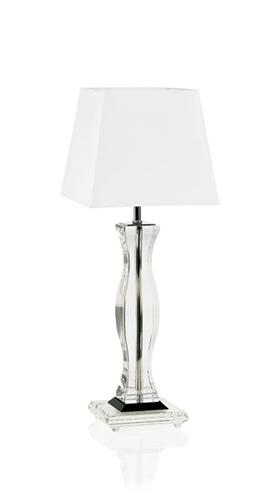 Lampada in cristallo e legno