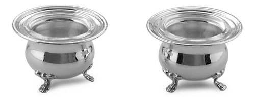 Coppia di salini inglesi in argento e cristallo