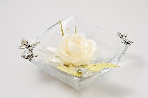 Ciotolina in cristallo con farfalle in argento
