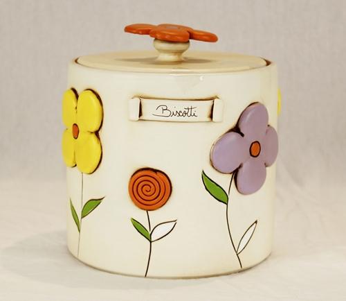 Barattolo biscotti con decoro floreale - ceramica