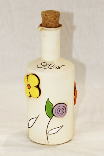 Oliera con decoro floreale - ceramica