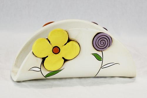 Portatovaglioli con decoro floreale - ceramica