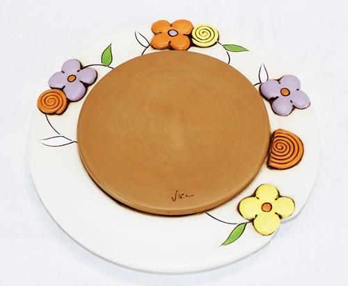 Sottopentola con decoro floreale - ceramica