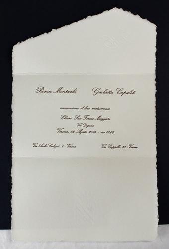 Partecipazione a busta su carta rosaspina