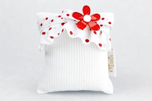 Busta portaconfetti in tessuto con bordura bianca a pois rossi