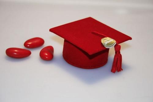 Tocco portaconfetti - laurea rosso