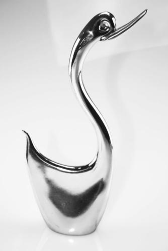 Cigno stilizzato argentato