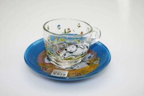 Tazza da caffè in vetro con stampe