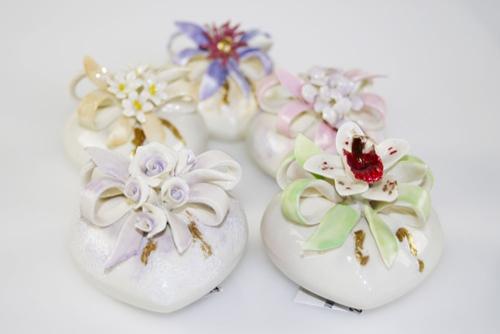 Cuori con fiori - porcellana