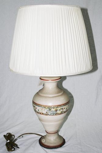 Lume in ceramica decorata e tela