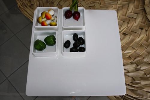 Vassoio quadrato con 4 vaschette portasalse - porcellana