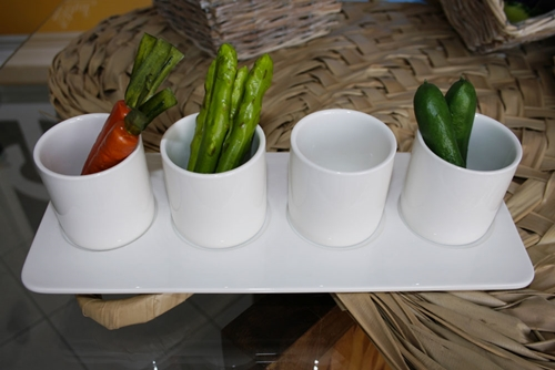 Vassoio rettangolare con 4 vaschette portasalse - porcellana