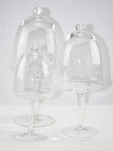 Alzata con coppa a cupola - vetro