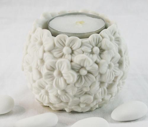Portacandela a sfera con decoro floreale